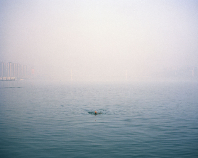 ©Julien Chatelin 2015 China, Wanzhou 21-01-2015. An old man swimming in the Yangtze river