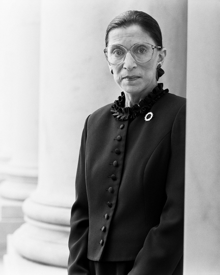 Michael O'Neill Ruth Bader Ginsburg, Supreme Court, D.C., November 1 1998 Gelatin silver print. 22 7/8 x 18 1/4 in. (58.1 x 46.4 cm) Signed, titled 'RBG,' dated and numbered 4/25 in pencil on the verso. Estimate : $ 3,000 - 5,000 - Image courtesy of Phillips