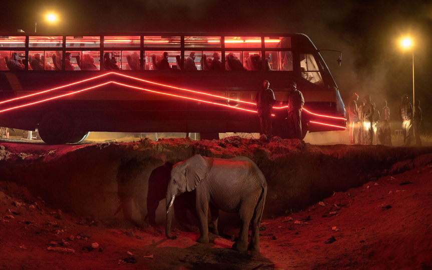 Nick Brandt, Bus Station With Elephant & Red Bus,, 2018 © Nick Brandt Courtesy Edwynn Houk Gallery, New York (2)