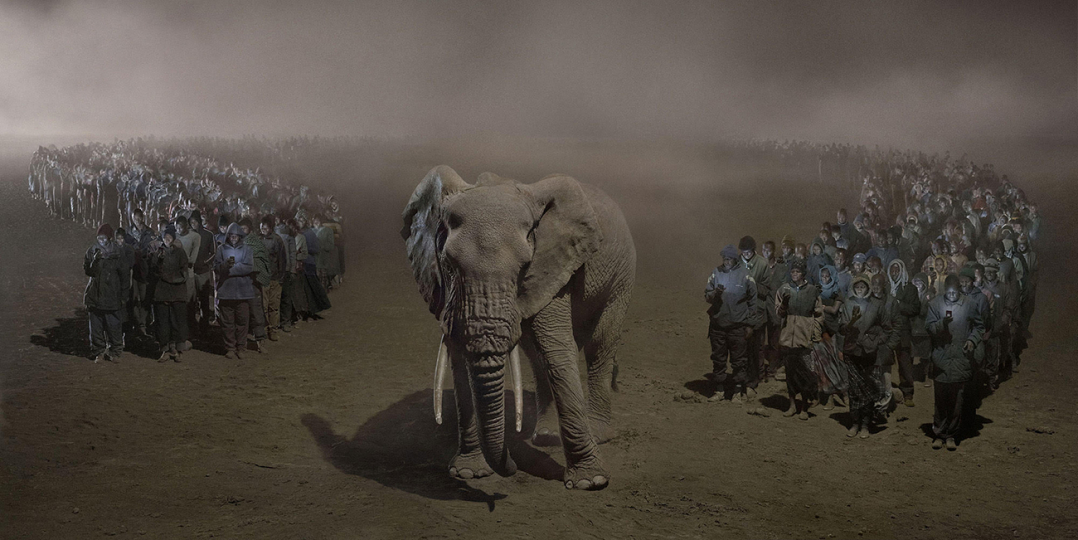 Nick Brandt, River of People With Elephant at Night, 2018. © Nick Brandt Courtesy Edwynn Houk Gallery, New York (2)