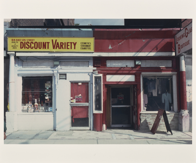 65 East 125th Street, Harlem; Camilo José Vergara (American, born Chile, 1944); Harlem, New York, New York, United States; October 1981; Chromogenic print; 38.7 × 58.4 cm (15 1/4 × 23 in.); 2016.165.44 © Camilo José Vergara – Courtesy The J. Paul Getty Museum, Los Angeles, Gift of Bruce Berman and Lea Russo