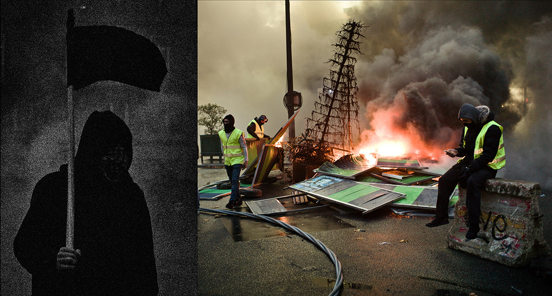 Theatre of Anger / Ulrich Lebeuf & Stéphane Lagoutte MYOP in Arles 2019. 1-7 July 2019. Press Images.  Manifestation des Gilets Jaunes, à Toulouse (gauche) et Paris (droite). 2018. Yellow Vests protests in Toulouse (left) and Paris (right). 2018. © MYOP