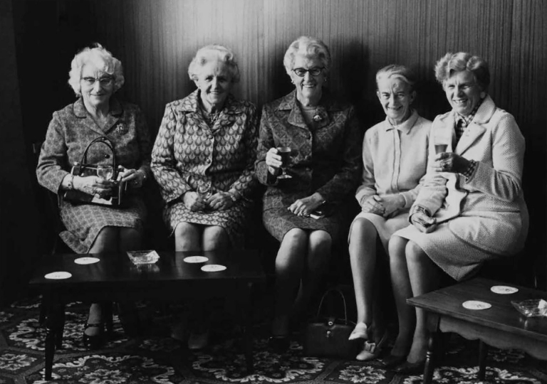 "Ladies of Thames, Brian Boru Hotel, Thames, 1975 © John Fields – From ""The New Photography"""
