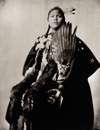 """Brings Good Winter Woman"" Aliya Winter Martinez, Standing Rock Sioux, 26 July 2017, Plate No. 2405 © Shane Balkowitsch from the book Northern Plains Native Americans: A Modern Wet Plate Perspective, published by Glitterati Editions"