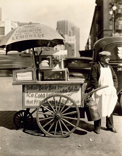 Berenice Abbott, Hot Dog Stand, West Street and North Moore Streets, Manhattan - Courtesy Phillips New York