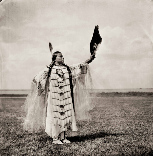 """Beautiful Evening Star Woman"" Margaret Yellowbird-Landin, Sahnish Hidatsa Assiniboine, 9 August 2017, Plate No. 2419 © Shane Balkowitsch from the book Northern Plains Native Americans: A Modern Wet Plate Perspective, published by Glitterati Editions"