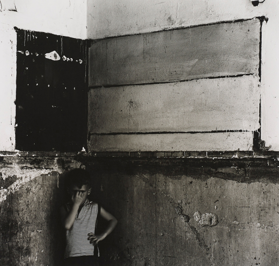 Ralph Eugene Meatyard, Untitled (Flag, derelict interior with Christopher) - Courtesy Phillips New York