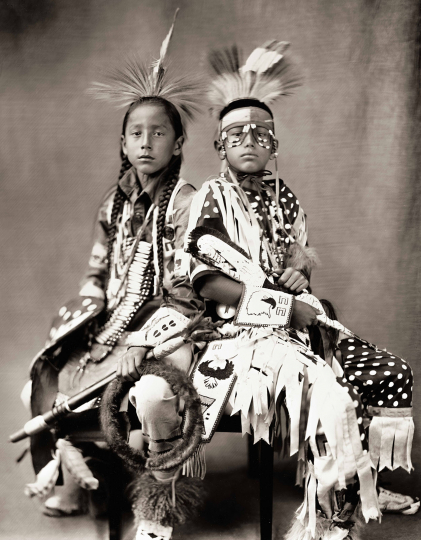 """Eagle Dancer and Standing Rock"" Synsir and Jayceon Fog in the Morning, Crow Hidatsa Hunkpapa Lakota Dakota, September 2018, Plate No. 2887 © Shane Balkowitsch from the book Northern Plains Native Americans: A Modern Wet Plate Perspective, published by Glitterati Editions"