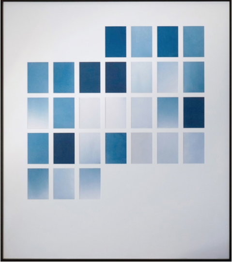 Marie Clerel, Février 2018, Midi series, 2018 chez Binome, secteur Curiosa 28 lumen prints with cyanotype process on Canson paper, passe-partout, aluminium and veneered wood frame, anti-refective glass 80,5x70,5 cm - unique piece in edition of 2 © Marie Clerel, Galerie Binome
