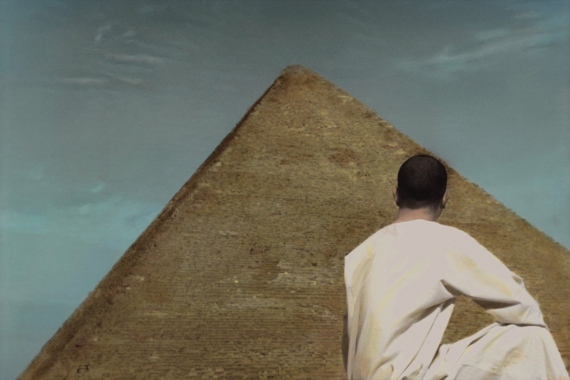 Self portrait with pyramid - Cairo 2009 © Youssef Nabil