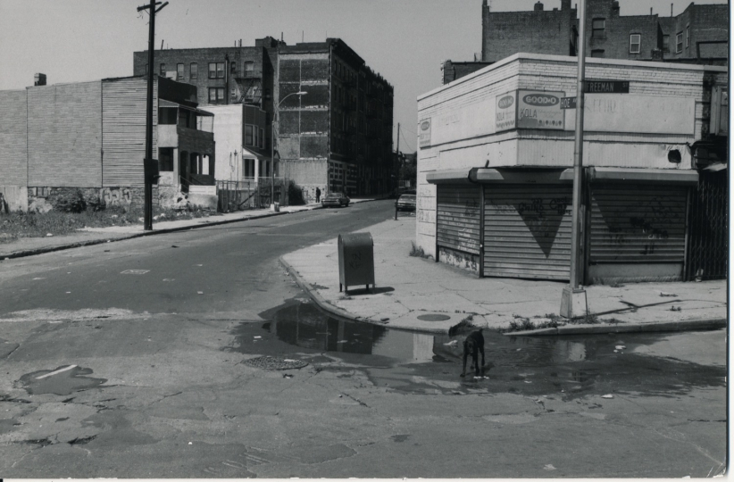 Phill Niblock Streetcorners in the South Bronx, 1979, Pigment Print, 10h x 8w in, Courtesy of Phill Niblock and Fridman Gallery.